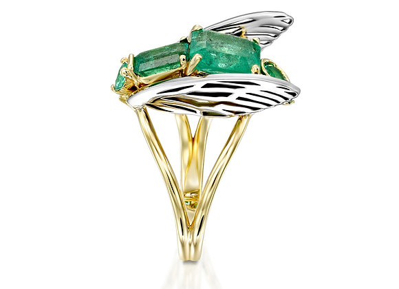 Unique Fly Ring, Gold and Emeralds