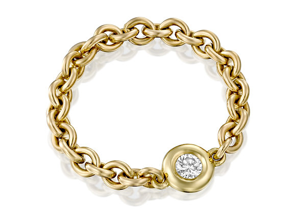 Yellow Gold Bezel Chain Ring with Diamond