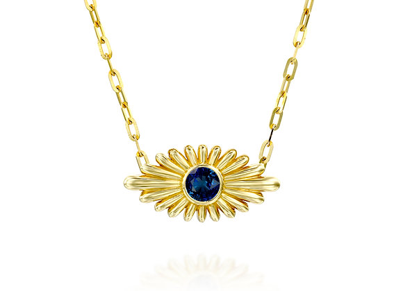 Art Deco Inspired Evil Eye Blue Sapphire Necklace