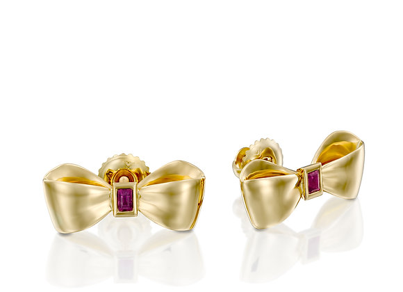 GOLD RUBY BOW STUD EARRINGS