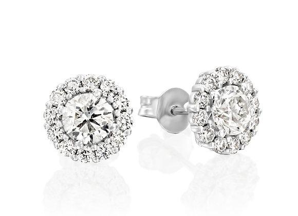Brilliant 14k White Gold Halo Diamond Studs