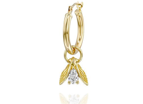 14K Gold Fly Dangle Pear Diamond Hoop Earring