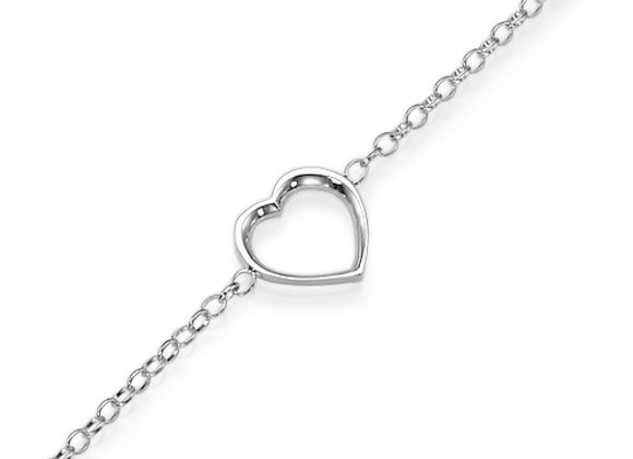 Heart Bracelet 18k White gold, valentine's day gift