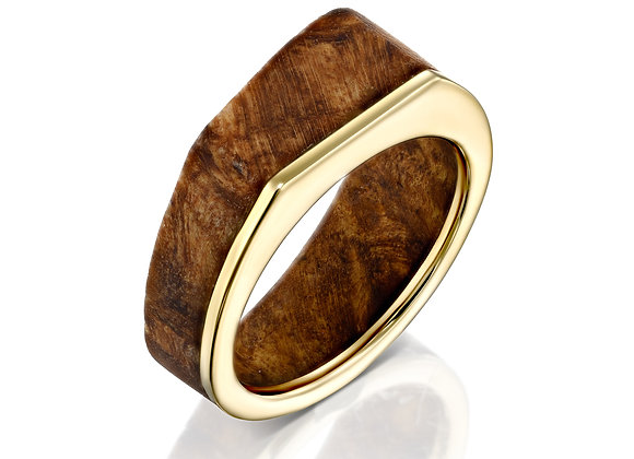 Maple Burl Wood Ring with Yellow Gold