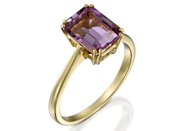 Emerald cut amethyst gold ring