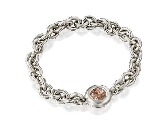 Peach Sapphire Chain flexible Ring