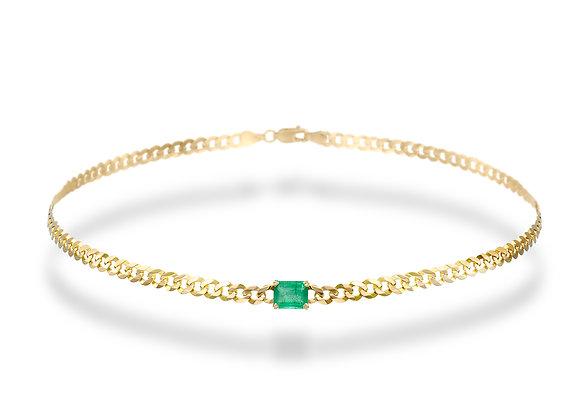 14k Gold Cuban Chain Choker With Emerald