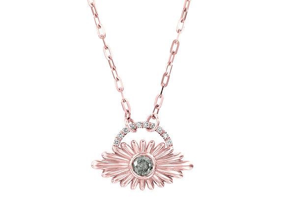 Art Deco Inspired Evil Eye Green Diamond Necklace