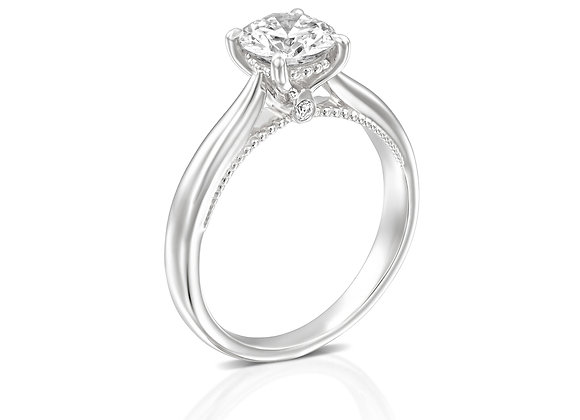 18k Vintage Inspired Gold Solitaire Diamond Ring