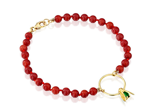 Beads Bracelet for Men, Emerald Insect-shaped Design with Coral Beads