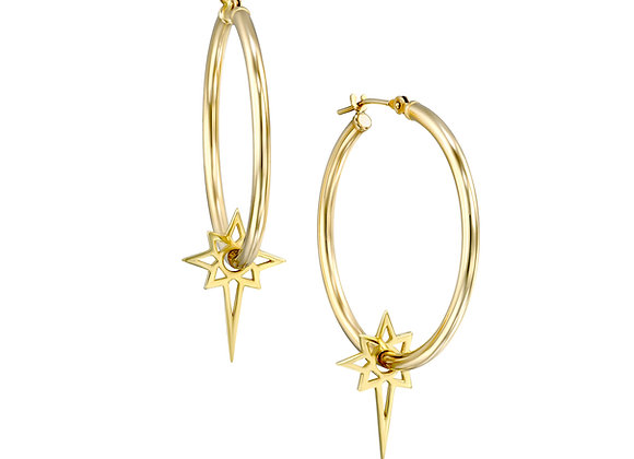 14k Gold Hoops With Starburst Dangle