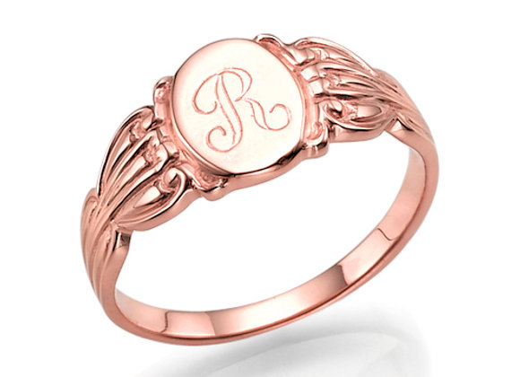 Rose Gold Vintage Style Initial Signet Ring
