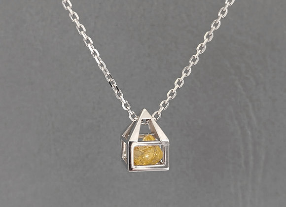 Rough Yellow Diamond House gold Necklace