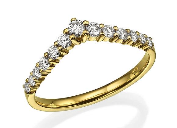 Yellow Gold V Nesting Wedding Band Rose Gold and Diamonds