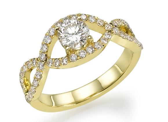 Braided Yellow Gold Diamonds Engagement Ring