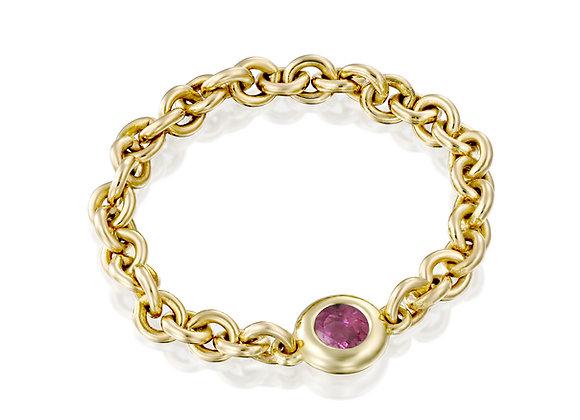 Gold Minimalist Sapphire Bezel Chain Ring