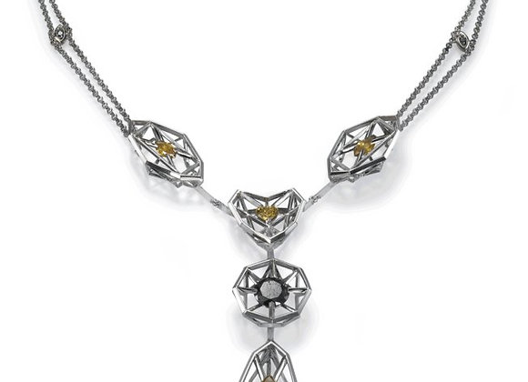 One of a kind artistic collier 18k white gold necklace