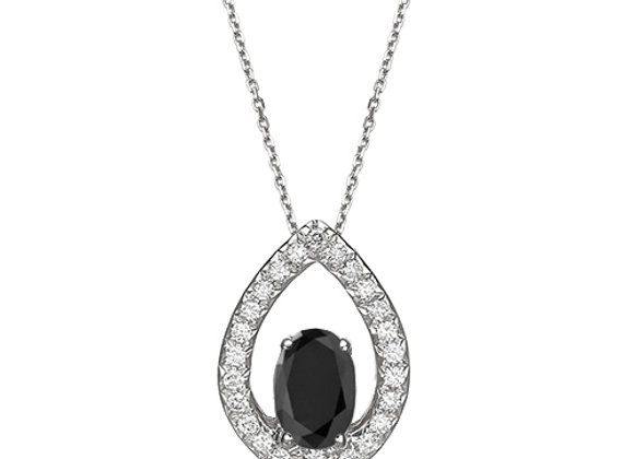 Black and White Diamonds Orchid Necklace 18k Gold