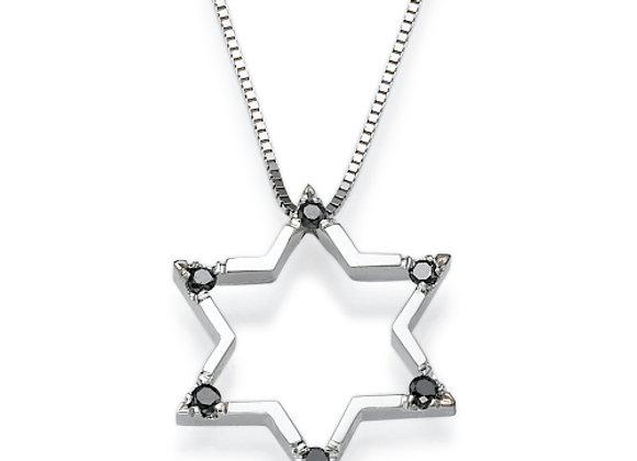 Black Diamonds Star of David Necklace