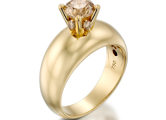 High setting brown Champagne diamond ring