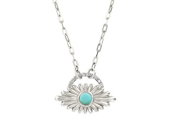 Art Deco Inspired Evil Eye Light Blue Turquoise Necklace