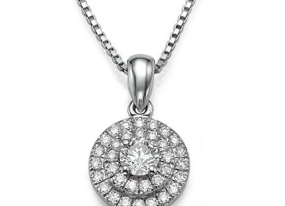 Double Halo Diamonds Pendant