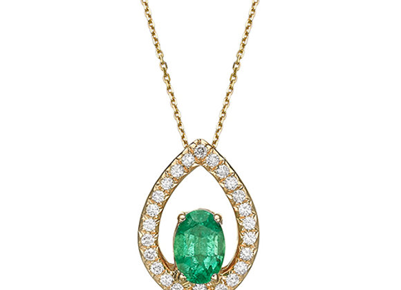 18k Gold Diamond and Emerald Pendant Necklace
