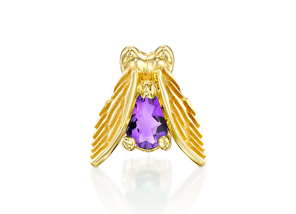 Gold Insect Stud Earring with purple Iolite