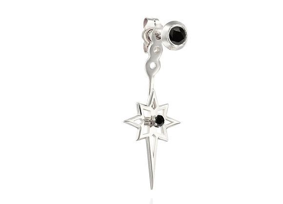 Single Ear Jacket Gold & Black Diamonds Starburst