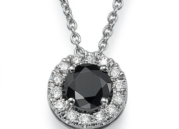 Black Diamond Halo Pendant