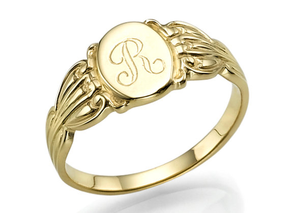 Gold Signet Initial Ring