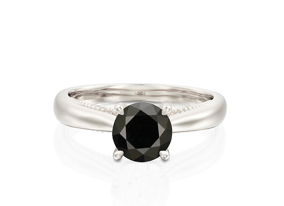 Vintage Inspired Gold Solitaire black Diamond Ring