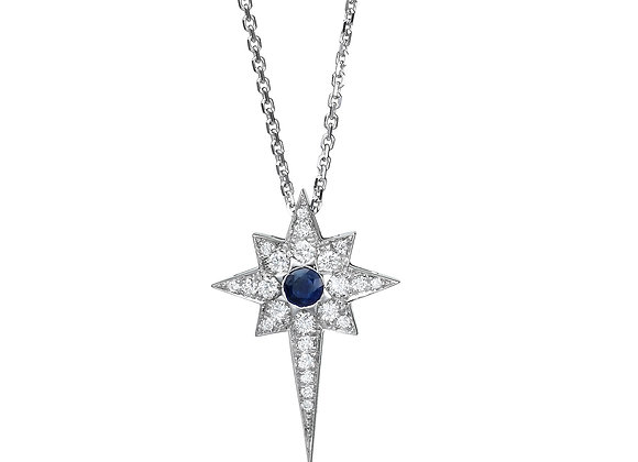 Blue Sapphire Star Necklace with diamonds
