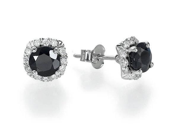 Black Sapphire & Diamonds Studs Earrings