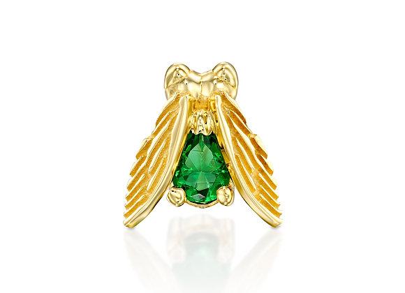 Single Gold Emerald Fly Stud Earring