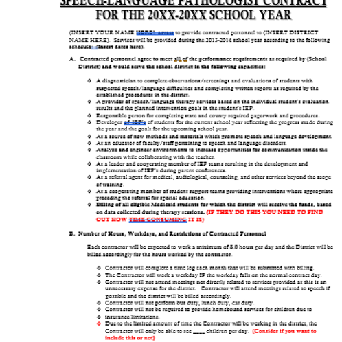 Contract and Proposal for School Systems