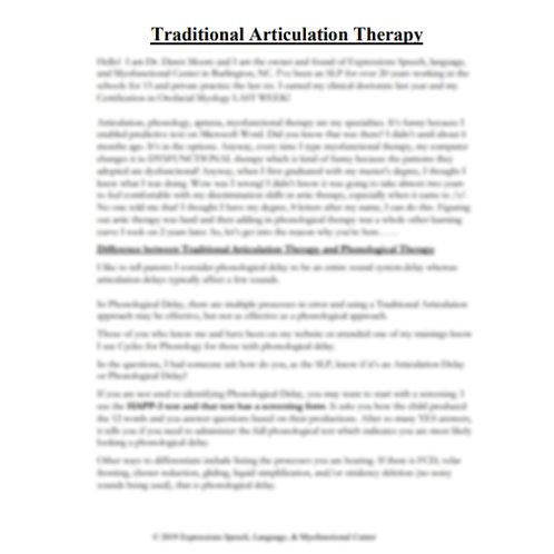 Traditional Articulation Webinar Handout