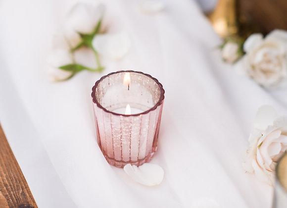 Pink Glass Votives (Set of 12)