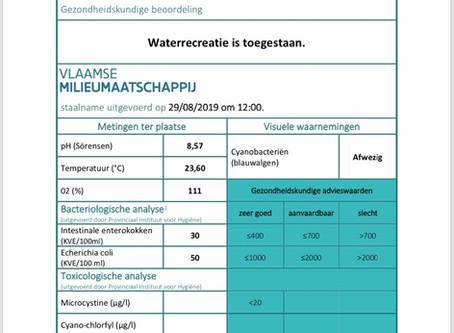 controle staalname 29/08/2019 De Bocht - advies Agentschap Zorg en Gezondheid