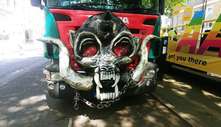 """""""Snaggletooth"""" prop for front of Pride Punx float. London Pride parade, 2018"""