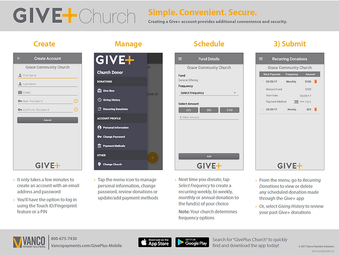 GIVE+ Church instructions