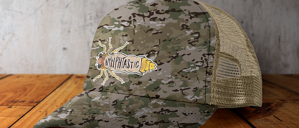 Nymphtastic camo/kahki snap back hat