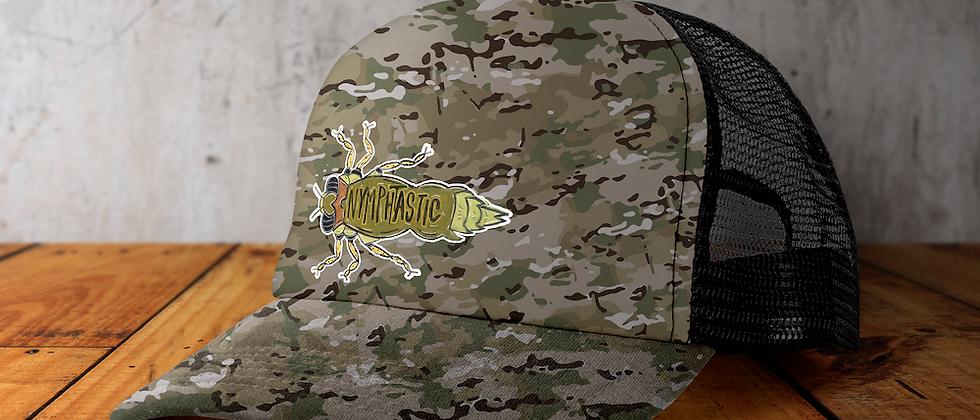 Nymphtastic camo/black snap back hat