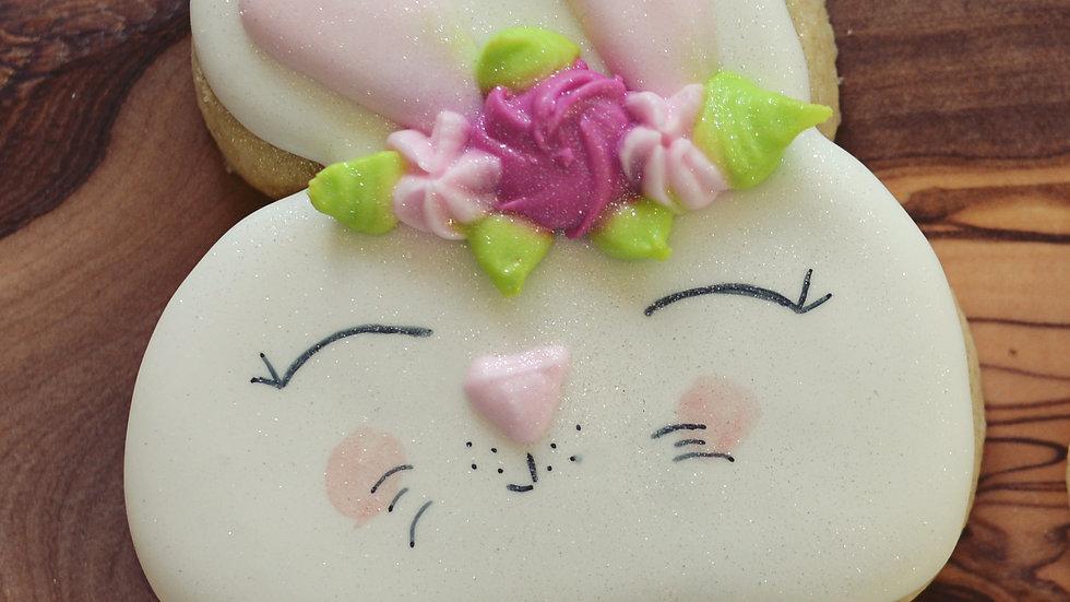 Flower Crown Bunny Easter Cookies