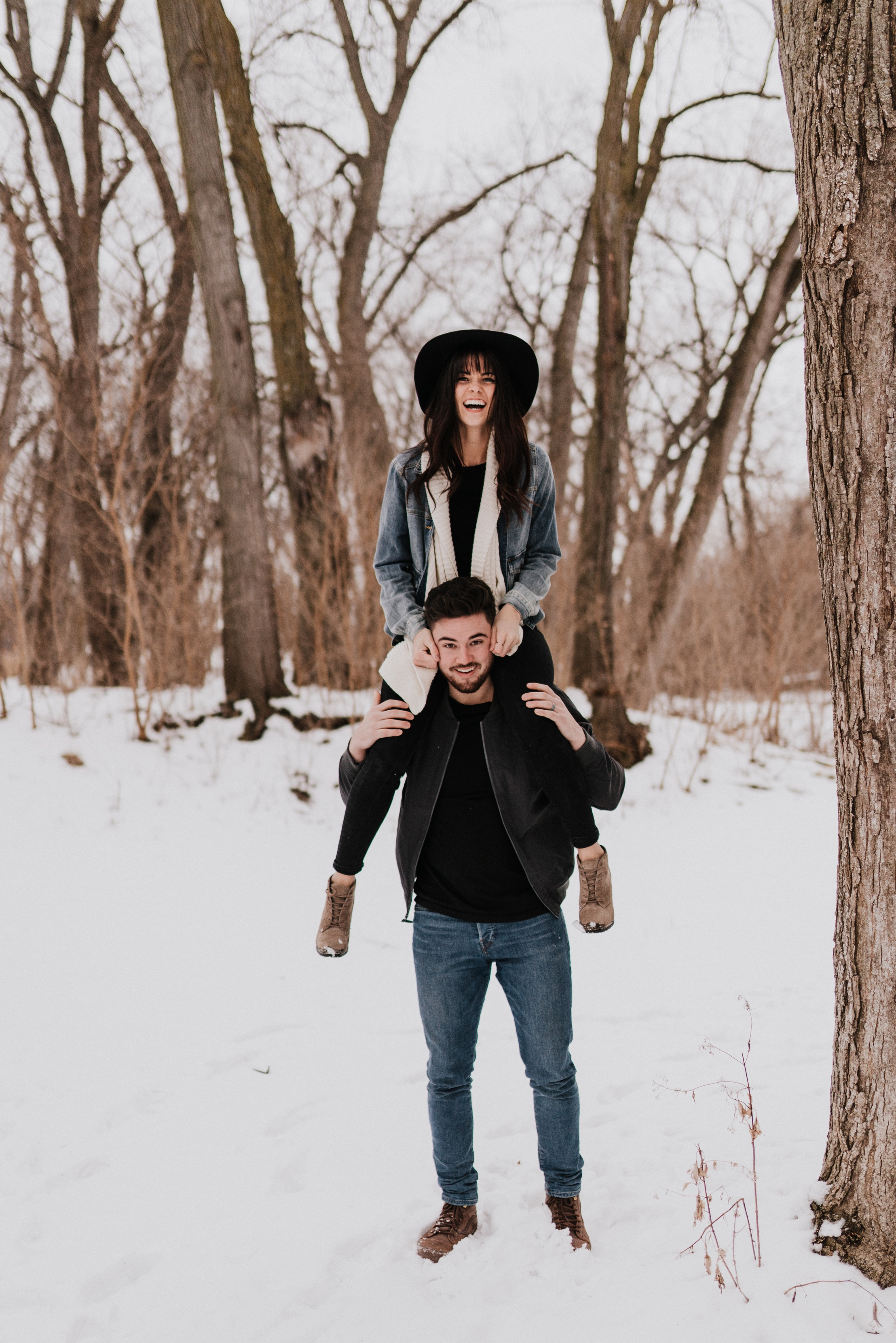 snowy winter engagement session omaha