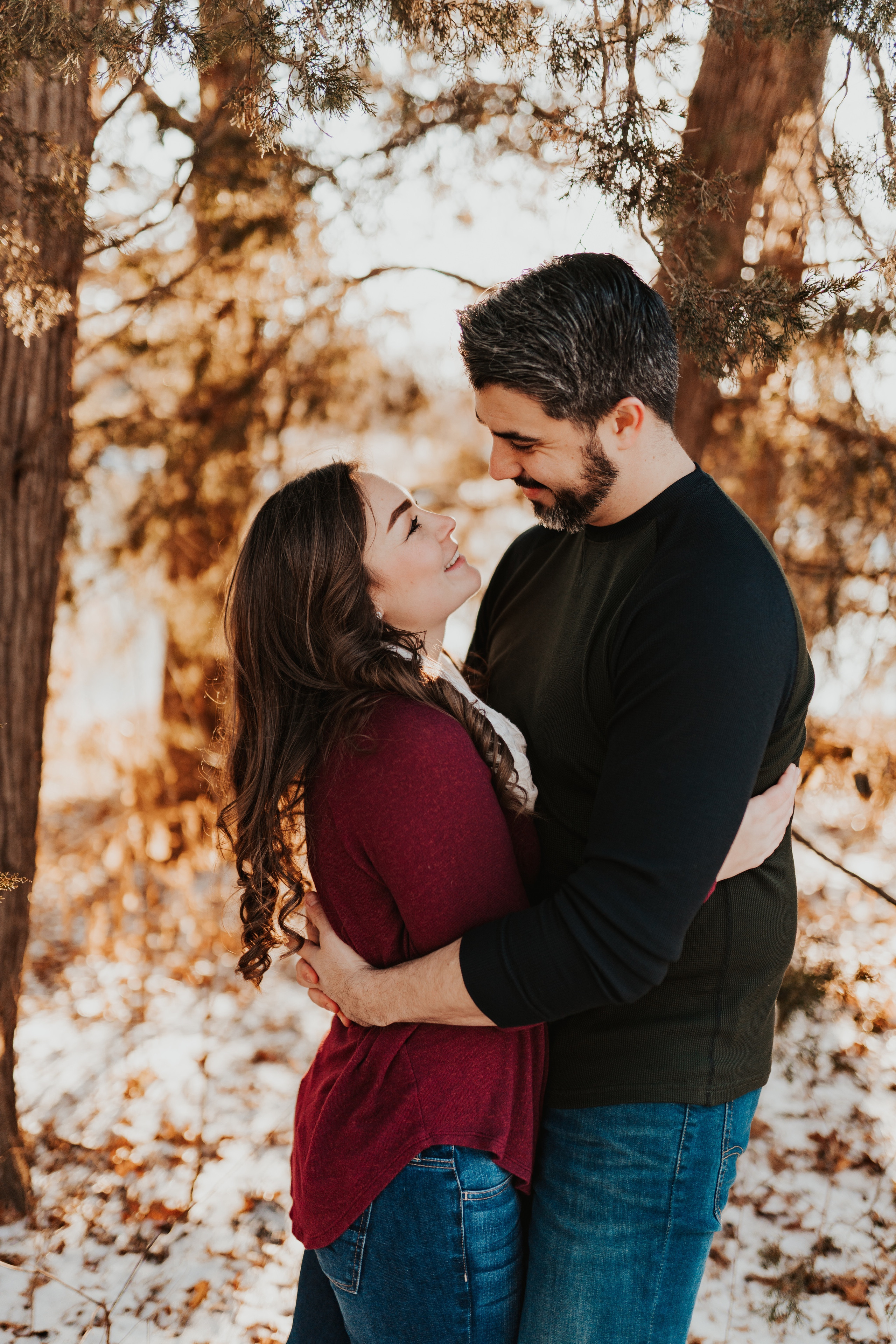 winter engagement session at pioneers park lincoln, nebraska