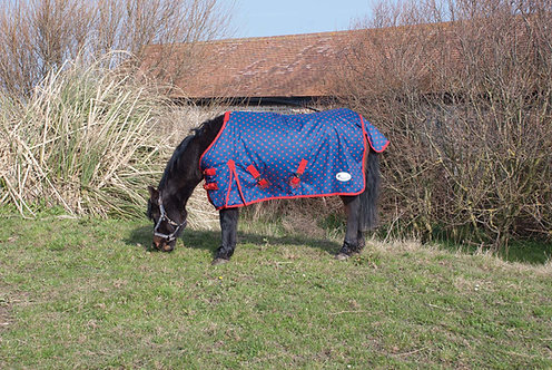 Ponny/Föl-täcke, 0g, röd/marinblå