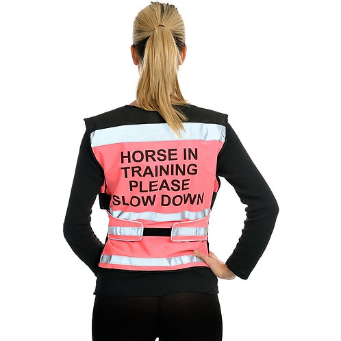 """Equisafety Air, reflexväst, """"Horse In Training Please Slow Down"""""""