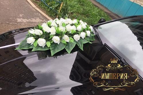 Белые розы для украшения авто