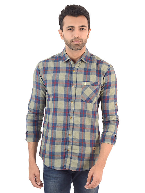 Blue and beige Checked Shirt